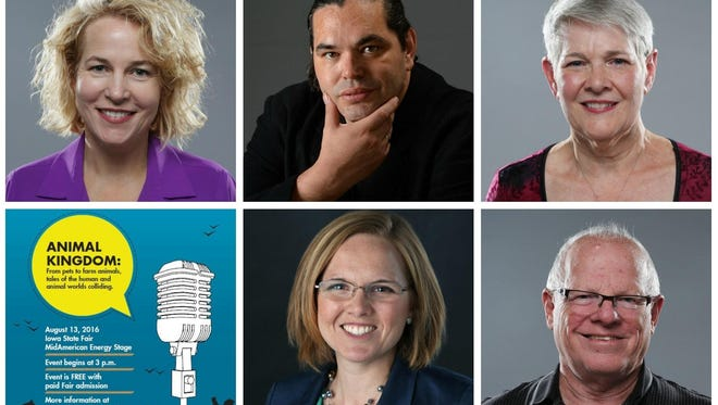 Clockwise from top left: Laurie Johns, John-Paul Chaisson-Cárdenas, Cyndy Erickson, Larry Hassman and Mackenzie Ryan. The Des Moines Storytellers Project event will be held at 3 p.m. Aug. 13 at the MidAmerican Energy Stage at the Iowa State Fair on Des Moines' east side.