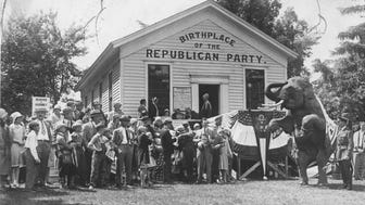 Celebrants gather at the schoolhouse in Ripon in this photo, likely taken during the 1920s, where the Republican Party was founded.