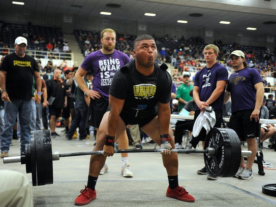 Comanche's Pedro Bernal completes his deadlift in the