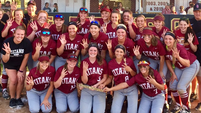Gibson Southern poses after winning its fourth straight regional title Tuesday.