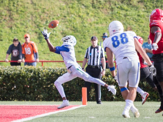 Wide receiver Ka'Ron Ashley (9) catches a pass in the endzone for a touchdown during the UWF vs West Alabama playoff football game in Livingston, Alabama on Saturday, November 2, 2017.