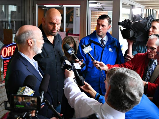Gov. Wolf and Lt. Gov. Fetterman at Manchester Cafe