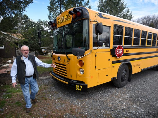Barry Fisher, president of the school bus division of D.B. Fisher bus company, demonstrates how to safely operate a school bus. D.B. Fisher operates school student transportation for Annville-Cleona, Northern Lebanon, and Lebanon school districts.