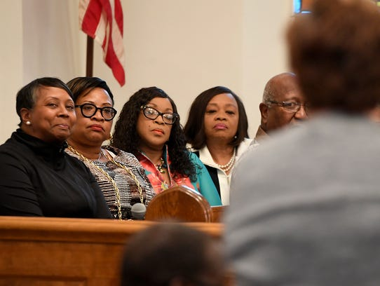 """Four members of the """"Grandview Five"""" - Karen Crosby, Myneca Ojo, Carolyn Dow and Sandra Harrison - take part in a rally at the Dover United Church of Christ featuring state Sens. Art Haywood and Vincent Hughes, both from Philadelphia, Monday, June 11, 2018. John A. Pavoncello photo"""