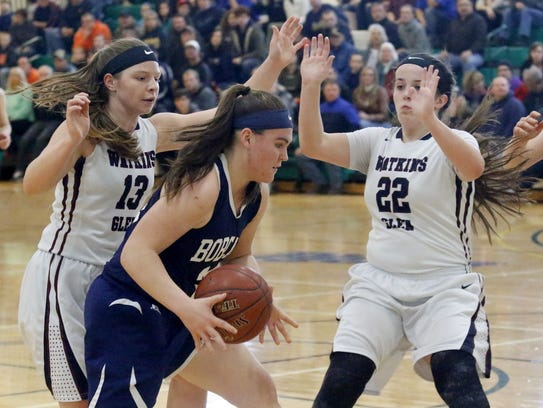 Bainbridge-Guilford's Megan Palmateir is defended by