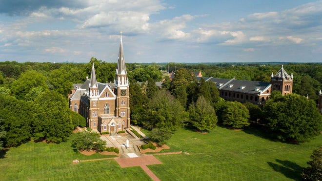 The cathedral and campus of Belmont Abbey College in Belmont.