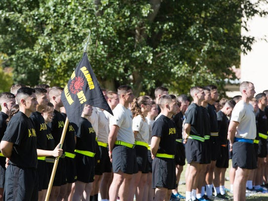 One hundred Army ROTC Cadets from 10 different universities stood in formation on the Horseshoe at New Mexico State University Friday October 20, 2017 at the opening ceremony for the 25th annual Brigade Ranger Challenge Competition.