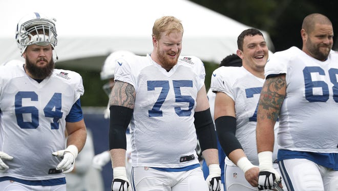 Indianapolis Colts offensive tackle Jack Mewhort (75)  walks onto the field with the other offensive linemen during their fourth day of training camp at Grand Park in Westfield on Sunday, July 29, 2018.