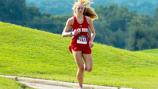 Glen Rose High School senior Jocelyn Mims, seen here in action last month at the Glen Rose Invitational at Squaw Valley Golf Course, recently won cross country meets at Lampasas and Stephenville, giving her five race victories this season.