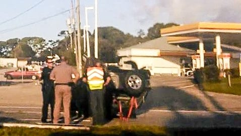 Vehicle rollover just south of the Pineda Causeway on U.S. 1 in Palm Shores.