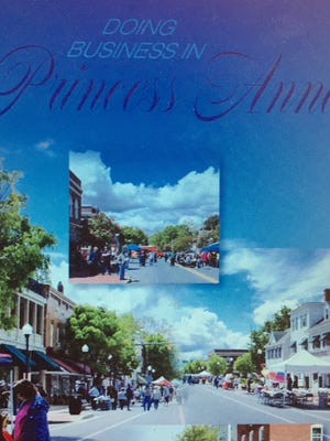 This brochure cover introduces a marketing package that touts the business climate in the Town of Princess Anne and welcomes visitors and prospective businesses. The 10-page, color marketing tool is a project of the Princess Anne Main Street Partnership that promotes sustainable economic growth, especially in the historic downtown business and retail district.