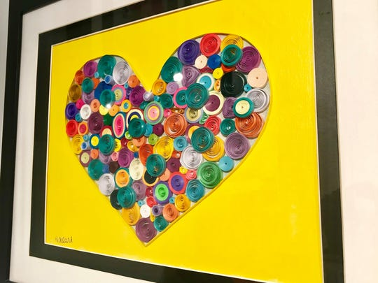 Quilled art piece by Heather Allard, featured in the annual Valentine's Show on Feb. 3 at Plum Bottom Pottery & Gallery.