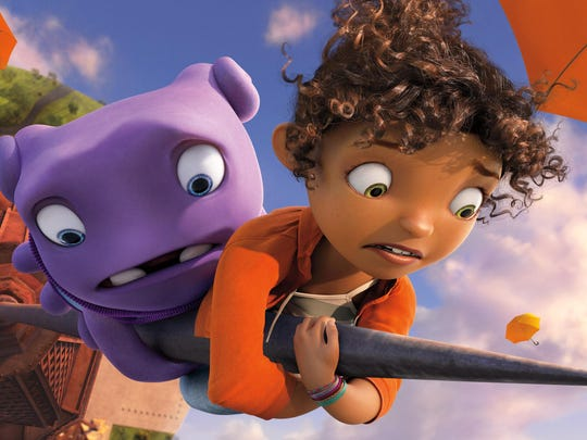 """Oh, left, voiced by Jim Parsons, and Tip, voiced by Rihanna, appear in a scene from the animated film """"Home."""""""