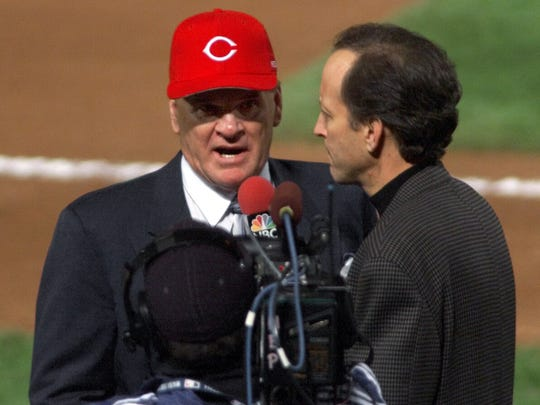 Before Game 2 of the World Series, Rose is peppered with questions by NBC reporter Jim Gray, who asks him several times in a TV interview if he wants to admit betting on baseball and apologize.