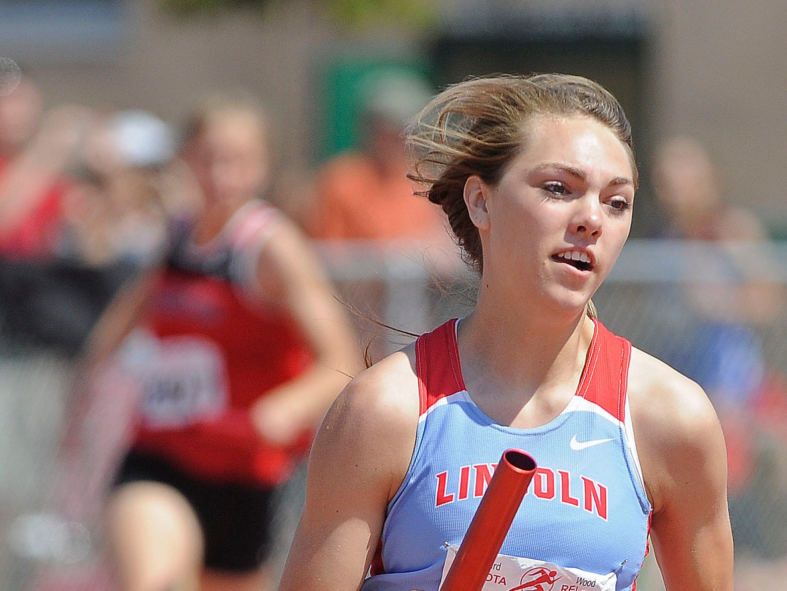 Lincoln's Michaela Mohr (pictured at the Howard Wood Dakota Relays last May) is this week's Sanford Standout.