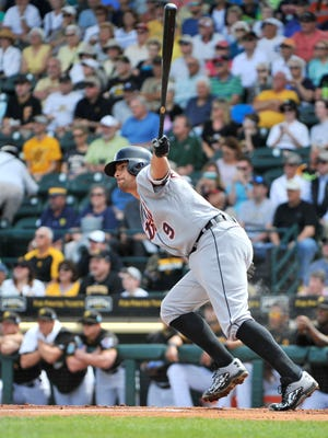 Tigers' Nick Castellanos singles to score Jose Iglesias in the first inning to make it 2-0 Tigers. Detroit went on to win 10-3.