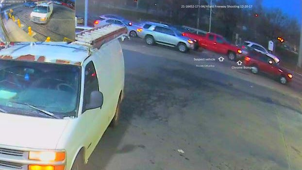 Surveillance photos showing the suspected red pick-up truck.