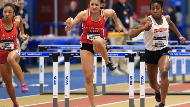 Bridgewater State University track star Jayci Andrews of Plymouth has been named a John C. Harper Athlete of the Year at the school. File photo courtesy of Bridgewater State.