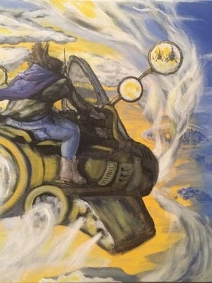 """""""Sybil Ludington on a Cloud Rider"""" features a young girl (based on a historical figure by the same name) on a flying machine in the sky.  This painting  represents morning, 7 or 8 a.m.."""