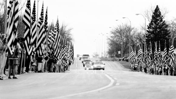 Gov. George Mickelson's funeral procession as it moved