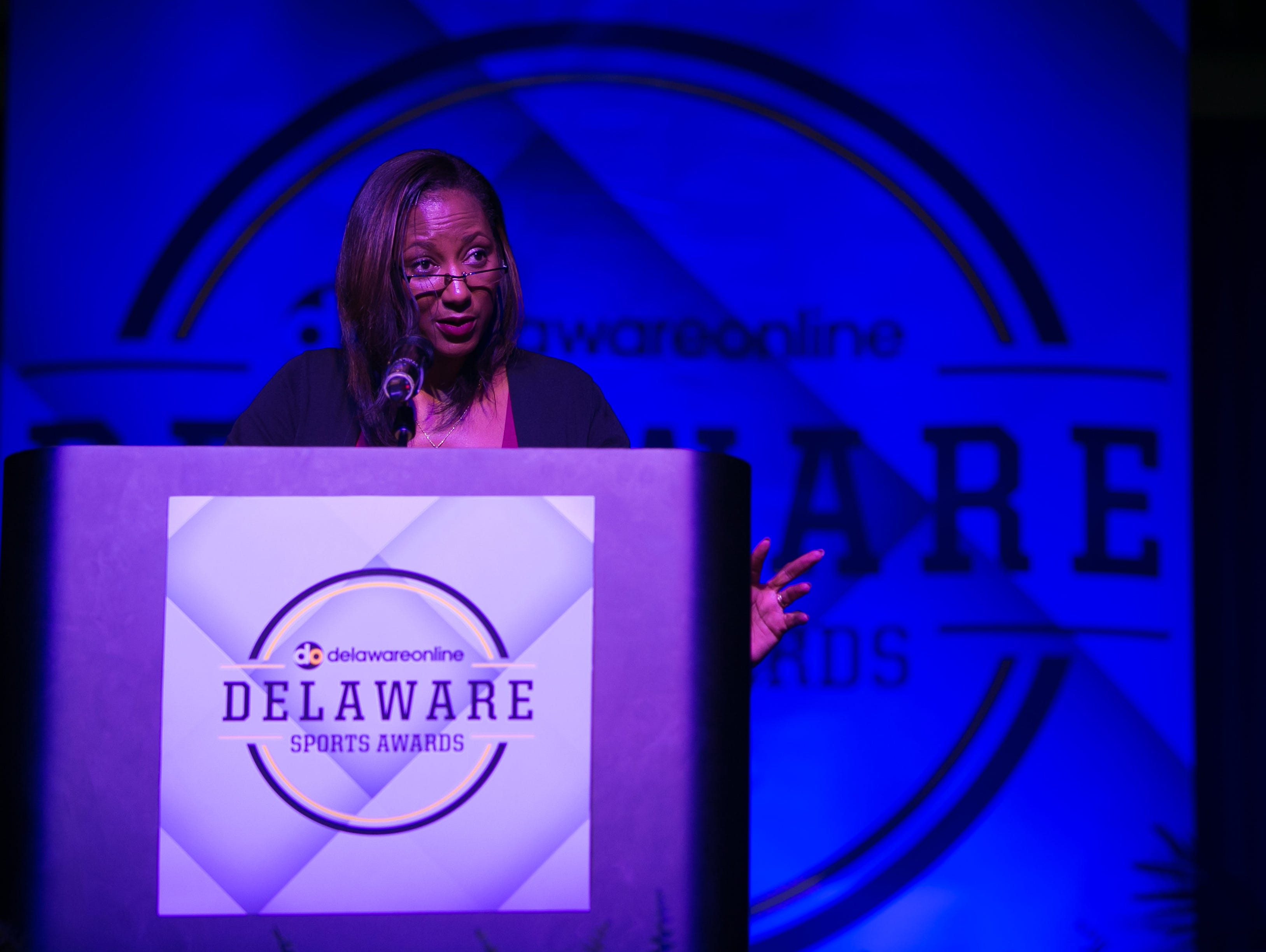 The News Journal publisher Susan Leath speaks at the first Delaware Sports Awards at the Bob Carpenter Center.