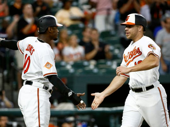 Baltimore Orioles' Adam Jones, left, and Chris Davis celebrate after scoring on Welington Castillo's single in the second inning of a baseball game against the Seattle Mariners in Baltimore, Monday, Aug. 28, 2017.