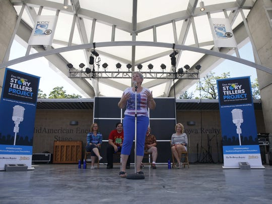 Cyndy Erickson of Des Moines shares her story during the Des Moines Storytellers Project on Saturday, Aug. 13, 2016 at the Iowa State Fair in Des Moines.