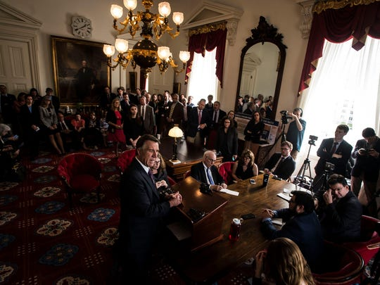 Gov. Phil Scott talks about his budget plan, including plans for a state-wide healthcare policy for all Vermont teachers that he says will save the state millions, talking during his weekly news conference at the Statehouse in Montpelier on Thursday, May 4, 2017,