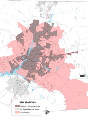 Salisbury city limits vs. fire coverage area
