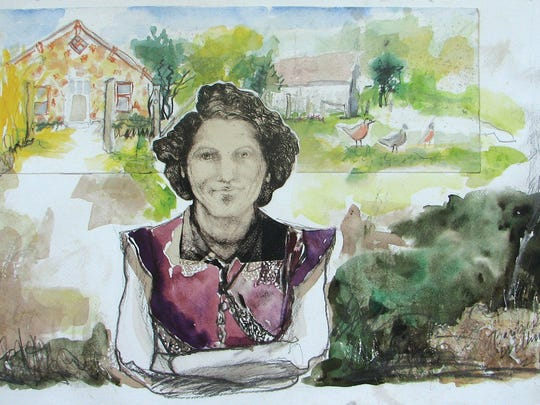 """Barbara Williams, another Missouri painter, titled this piece """"Lucille's House.""""  Williams had a similar piece in this past summer's """"Watercolor U.S.A."""" exhibit."""