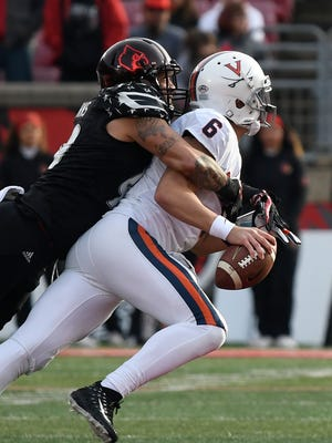 James Hearns records a sack in Saturday's game.