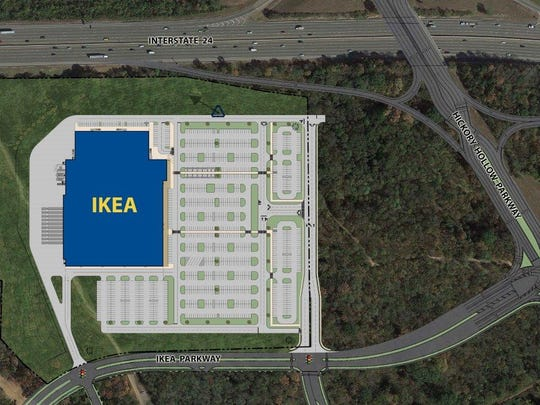 Renderings and site plans for proposed Ikea location in Nashville.