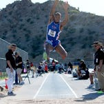 Jarrett Samuels ranks 10th entering the NCAA East Prelims with a jump of 25-2.5.