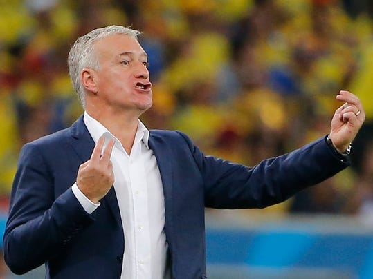 France's head coach Didier Deschamps directs his players during the group E World Cup soccer match between Ecuador and France at the Maracana stadium in Rio de Janeiro, Brazil, Wednesday, June 25, 2014. (AP Photo/David Vincent)