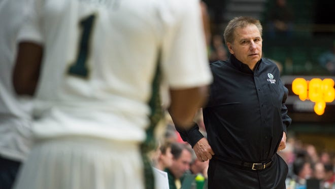 CSU coach Larry Eustachy watches his team take on New Mexico at Moby Arena on Tuesday. The Rams are 15-13 this season with three games remaining.