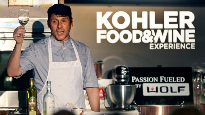 """Chef Stefano Viglietti presents during the 2015 Kohler Food and Wine in this file photo. The Sheboygan chef will return to the Kohler stage this year for a seminar on """"Famous Small Plates of Venice"""" on Oct. 21."""