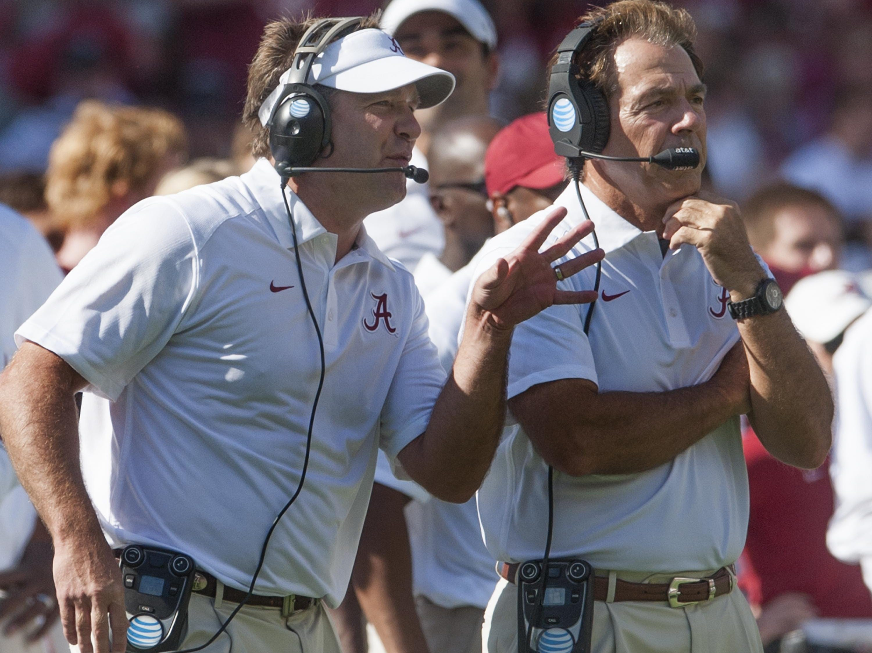 Alabama defensive coordinator Kirby Smart and head coach Nick Saban at Bryant-Denny Stadium in Tuscaloosa, Ala. on Saturday September 12, 2015. (Mickey Welsh / Montgomery Advertiser)