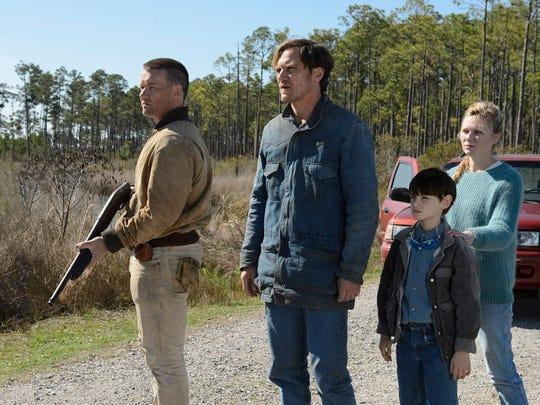 "Joel Edgerton, Michael Shannon, Jaeden Lieberher and Kirsten Dunst in ""Midnight Special."""