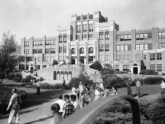 This is the scene on the fourth day of school at Little Rock, Ark., Central High School just before the bell rang for classes, Sept. 6, 1957. There was no hint of tension that plagued the first week of school during integration.