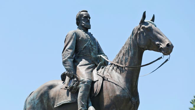 This file photo shows the statue of Confederate Gen. Stonewall Jackson on Monument Avenue in Richmond, Va.