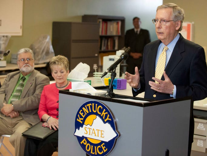 U.S. Sen. Mitch McConnell was at the Ky State Police crime lab in Louisville to stump for renewed funding for the Debbie Smith Act. Smith, a rape victim, was at the event. The law provides states with federal funding to help speed up the backlog of rape kit testing done by the labs.  12 August 2014
