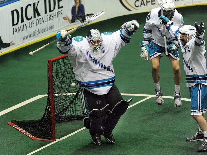 Rochester goalie Matt Vinc celebrates at the buzzer of the NLL Championship played at the Blue Cross Arena on Saturday, May 31, 2014. The Rochester Knighthawks claimed their third straight championship beating the Calgary Roughnecks 16-10 in Game 2 and 3-2 in the deciding mini-game.