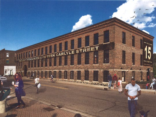 A rendering of the Carlyle Building in downtown Battle