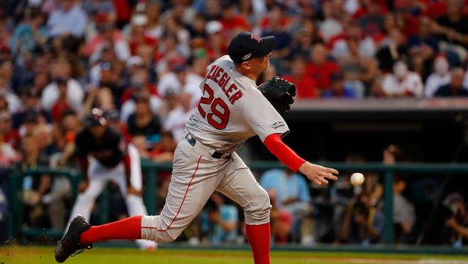 Oct 7, 2016: Boston Red Sox relief pitcher Brad Ziegler (29) pitches against the against the Cleveland Indians in the sixth inning during game two of the 2016 ALDS playoff baseball series at Progressive Field.
