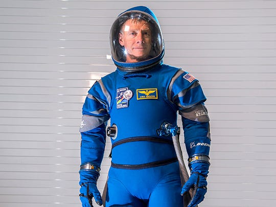 Chris Ferguson, Boeing's director of Starliner Crew and Mission Systems and a former NASA shuttle astronaut, wears the new launch-and-entry suit that Boeing unveiled last year at Kennedy Space Center.