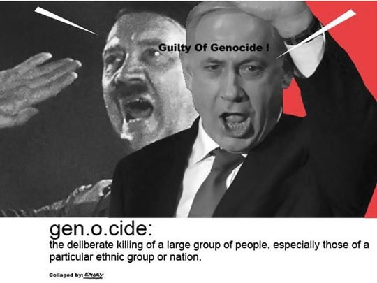 """Artist Emory Douglas displayed his work at the University of Michigan, including this collage of side-by-side images of Israeli Prime Minister Benjamin Netanyahu and Adolf Hitler and the phrase """"guilty of genocide"""" across their faces."""
