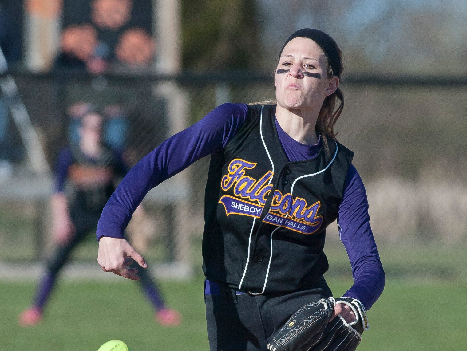 Sheboygan Falls' Autumn Horn (3) fires a pitch against Plymouth Thursday at Plymouth.