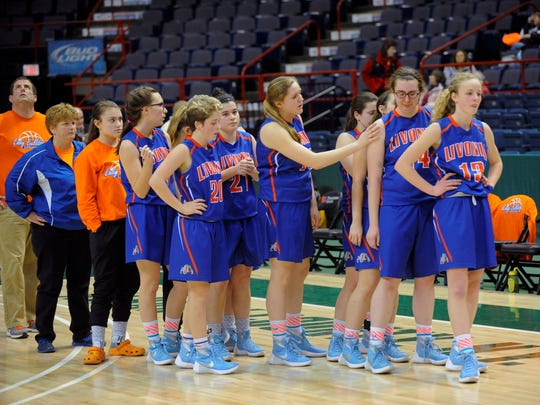 Livonia players line up after losing in the Federation title game.