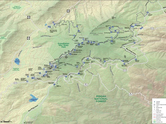 A map of Grandfather Mountain State Park.