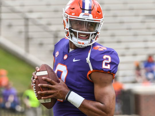 Clemson quarterback Kelly Bryant (2) before the spring game in Memorial Stadium in Clemson on Saturday, April 14, 2018.